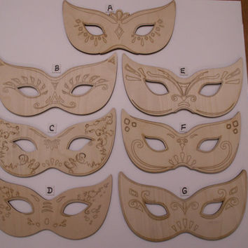 Masquerade Mask, Laser Cut, Ready to Paint Wood Shape, Ornaments, Party Decorations, Weddings, Quinceanera, MardiGras, Wreath Embellishment