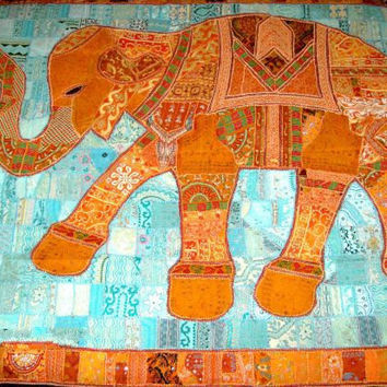 Applique quilt elephant applique patchwork reversible, throw vintage, indian antique quilt bedding, sari patchwork baby crib throw blanket