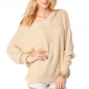 Shoulder Slash Sweater in Taupe - ShopSosie.com