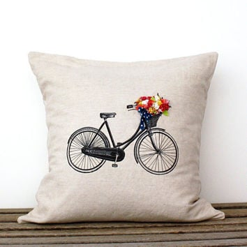 Decorative Bicycle Pillow- Bicycle Basket of Flowers- 18 x 18 inch Summer Home Decor- Linen Cotton