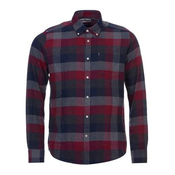 Angus Tailored Fit Button Down in Grey Marl by Barbour