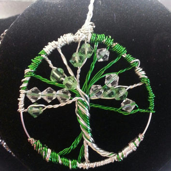 Tree of Life, Wire Wrapped Tree Pendant, Handmade Peridot / Green and Clear Swarovski Crystal and Silver and Green Wire Tree Necklace Charm