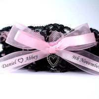 Personalised Wedding Garter in Pink and Black Lace