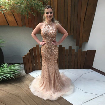 Luxury Evening Party Gowns Crystal Prom Dress Halter Beaded Backless Champagne Special Occasion Dress 2017 Robe De Soiree