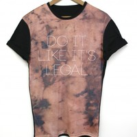 Bleached Legal Black All Over T Shirt