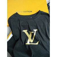LV street fashion men and women driving large print round neck loose half-sleeved shirt