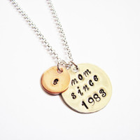 initial mom necklace, mom since, mom est, christmas gift, new mum, new mother jewelry, handstamped necklace, hand stamped pendant on chain