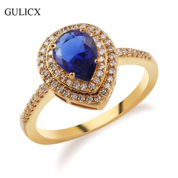 GULICX Luxury Heart Crystal Women Silver Color Rings with Austrian Cubic Zirconia Unique Water Drop Blue Stone Rings Jewelry