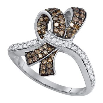 10kt White Gold Womens Round Brown Color Enhanced Diamond Knot Bow Ring 1/2 Cttw