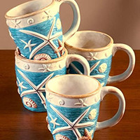Seashell Beach Design Mugs 12 Oz Hand Painted Earthenware Set of 4