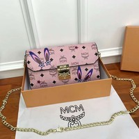 MCM counter trend women's exquisite fashion wild chain bag F-AGG-CZDL pink