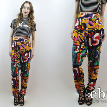 90s Pants High Waisted Pants High Waist Pants Genie Pants 1990s Pants Vintage 90s High Waisted Graffiti Print Pants S M Gitano Pants Hipster