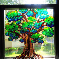 "Tree of life art 11""x11"" Glass painting Sun catcher Wall decor"