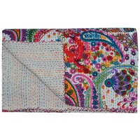 Queen Size White Multicolor Paisley Kantha Quilt Blanket Bedding on RoyalFurnish.com