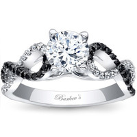Barkev's Black and White Diamond Twist Engagement Ring