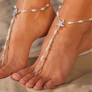 Beach Wedding Barefoot Sandals Pearl Anklet Toe Ring Wrap Starfish Foot Jewelry - Pair