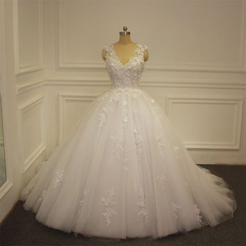 Amanda Noivas New Model Wedding Dress 2017 Princess Puffy Ball Gown Bridal Dress