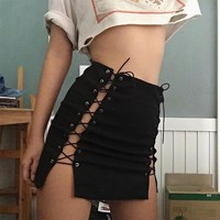 Women Skirt Bandage Lace Up Bodycon Preppy Casual Mini Skirt Bandage Mini Skirts