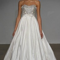 Empire Strapless Floor-Length Satin With Appliques Wedding Dress WEM04826