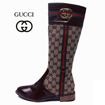 GUCCI Fashion Leather High Boot Flats Shoes