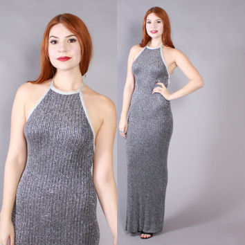 Vintage 70s Halter DRESS / 1970s Blue & Silver Metallic Backless Knit Maxi Dress