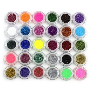 30 Mixed Colors Powder Pigment Glitter Mineral Spangle Eyeshadow Makeup 30pcs [8833595148]