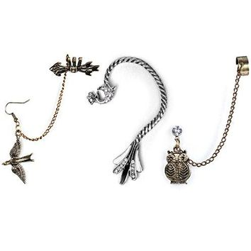 BodyJ4You 3PCS Cuff Earrings Stud Chain Dangle Ear Wrap Bird Peacock Owl Jewelry Set