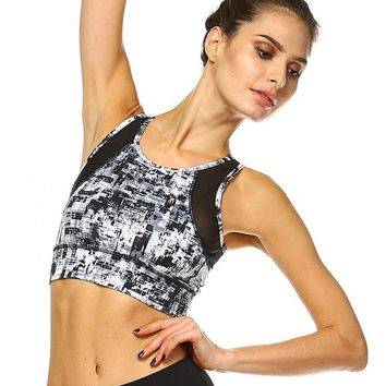 RAYNE MESH PANEL FIT CROP TOP - PRINT