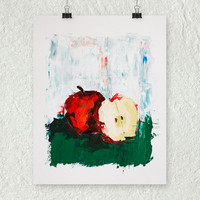 Red Apple Painting, Fruit Painting, Fine Art Painting, Abstract Painting, Kitchen Art, Impressionist Oil Painting, Home decor, Fruit Art