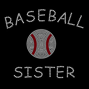 Baseball sister iron on hotfix rhinestone transfer - DIY heat transfer for shirts and tees - mom, sister, grandma, nana team sports