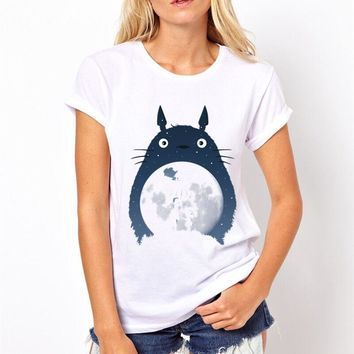Kawaii Anime Totoro Printing T-shirt 2017 Women's Totoro Tshirt Female Funny T Shirt Female Top Tee Summer Soft Tee Shirt,PY216