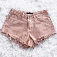 June Distressed Denim Shorts (PEACHY) - SMALL