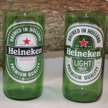 Heineken Drinking Glass, Recycled Beer Bottle, 8 oz. Green Glass, Single Glass