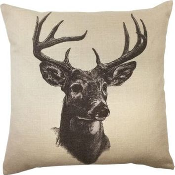 HiEnd Accents Whitetail Deer Print Linen Pillow