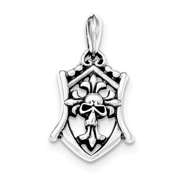 Sterling Silver Antiqued Skull Cross Pendant