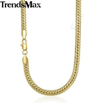 Trendsmax 6mm 50cm 60cm Gold Chain for Men Snake Chain Women's Men's Necklace Trendy Party Jewelry GN399