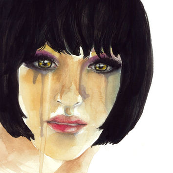 Watercolor artwork of sad girl crying. 10x10 paper with dripping paint with pretty eyes uses green blue pink purple orange teardrops