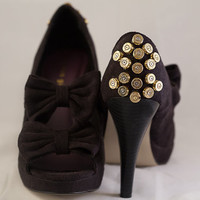 "Bullet Shoes-Black Suedette Pumps adorned with 34 bullets-""Bullets and Bows""-size 9 Madden Girl-One of A Kind"