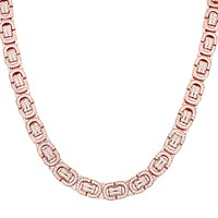 "Men's 22"" Rose Gold Finish Byzantine Link Custom Silver Chain"