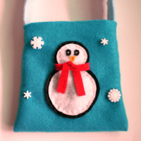 Little Girls Purse - Penguin and Snowflakes