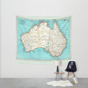 Australia Map Tapestry Wall hanging - vintage map, turquoise, beautiful map, travel decor, wall decor atlas, den, bedroom, library