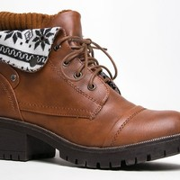 IVANKA-03 Lace Up Foldover Ankle Boot Bootie