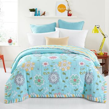 Papa&Mima Colorful flowers Print Quilting Summer Quilt Twin Queen Size Throws Blanket Cotton Bedding Plaid Bedspread