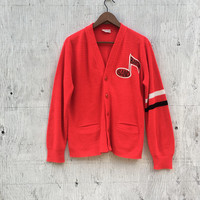 Vintage Red Varsity Cardigan - Letterman Knit Sweater - Button Up Stripes - Music Note Barbsby Band - 60s 70s Cardigan Vintage Clothing