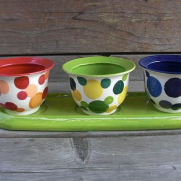 4 Piece Ceramic Herb Planter Flower Pot in Bright by InAGlaze