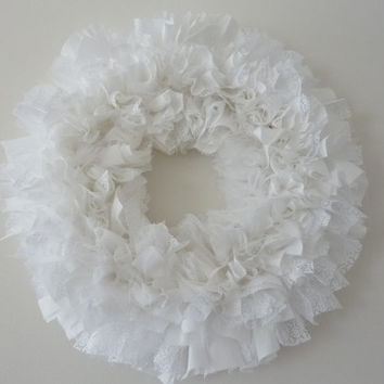 Small Rag Wreath White Lace Tulle Fabric Wedding Bridal Shower Engagement Christening