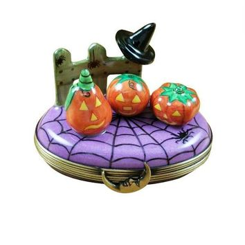 3 PUMPKIN SCENE WITH WITCH HAT LIMOGES BOXES