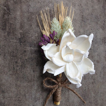 Handmade Wedding Boutonnieres- Sola Pea Rose Flower Boutonnieres, Wheat Boutonnieres, Phalaris Boutonnieres, Oregano, Twine, Country Rustic