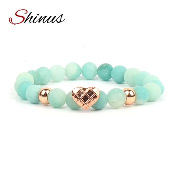 Shinus Boho Chakra Bracelets Men Jewelry Women Bracelet Amazonite Matte Natural Stone Beads Love Heart Healing Meditation Gift