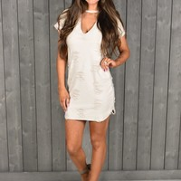 Distressed T-shirt Dress- Sand - Thirty One Boutique
